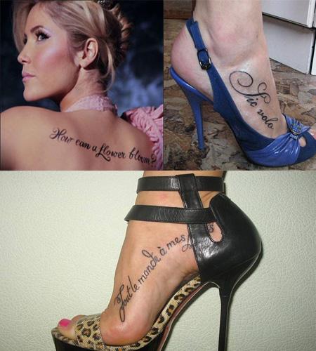Модные татуировки надписи для девушек, фото