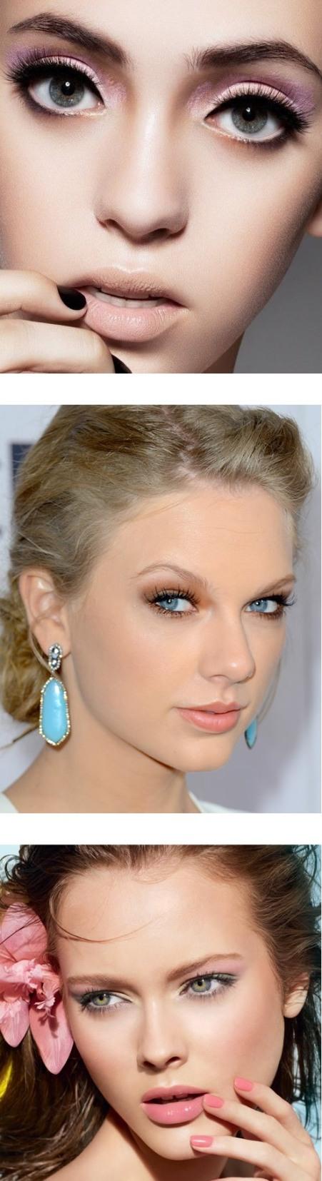 фото макияж для голубых глаз с розовыми тенями