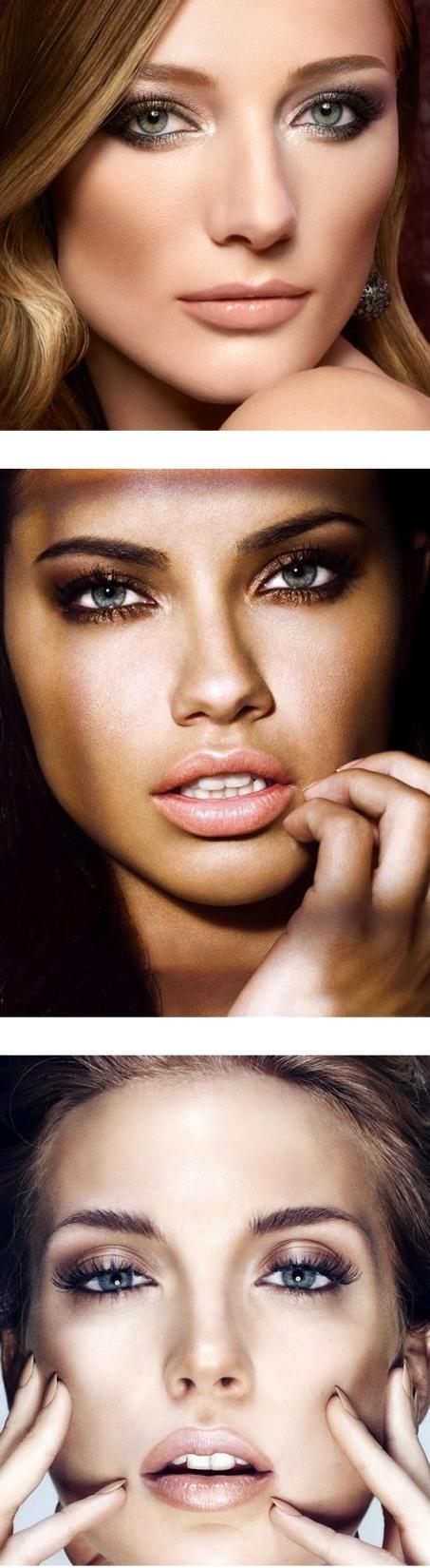 фото макияж для голубых глаз с натуральными, коричневыми и золотыми тенями
