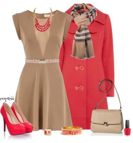 С чем носить красное пальто (пальто красного цвета)?
