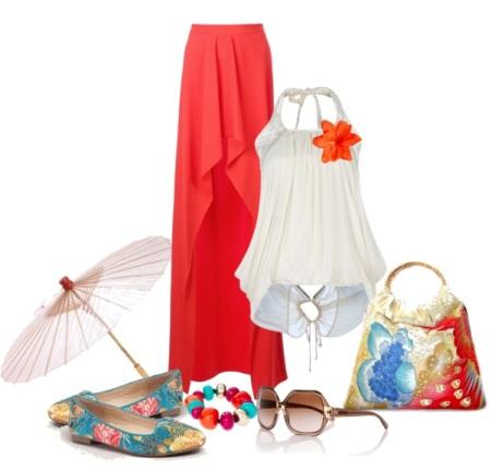 С чем сочетать длинную красную юбку?