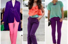 Сочетание цветов в одежде: фиолетовый. С каким цветом сочетается фиолетовый?