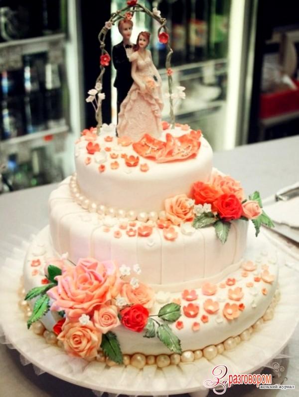 торт из мастики с розами, фото
