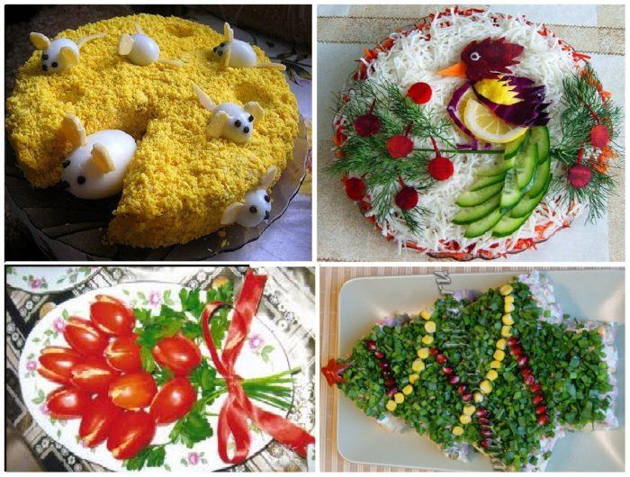 ukrashenie novogodnih salatov