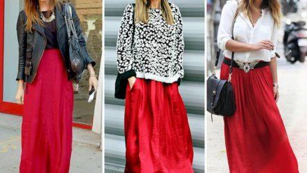 С чем носить длинную красную юбку — рекомендации и советы