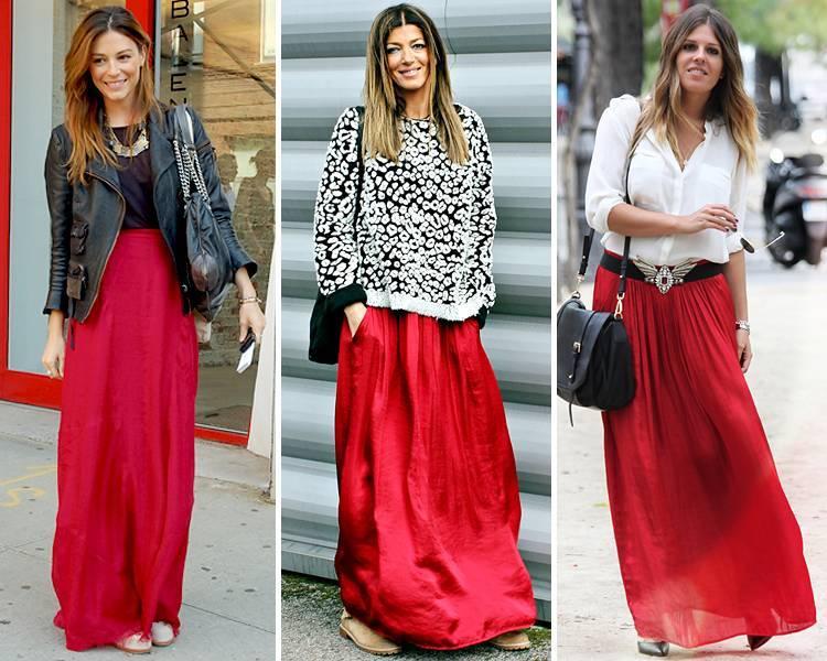 Длинная бордовая юбка с чем носить