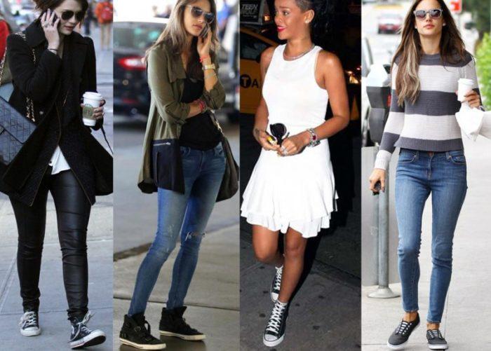С чем носить высокие кеды женские