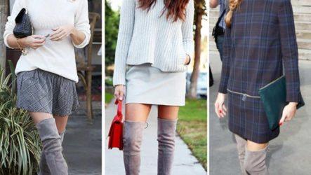 С чем носить серые сапоги — модные образы с фото