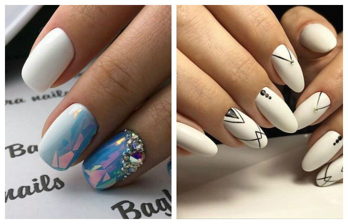 Белый цветок на ногтях 2017-2018 новинки